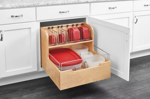 organized tupperware cabinet